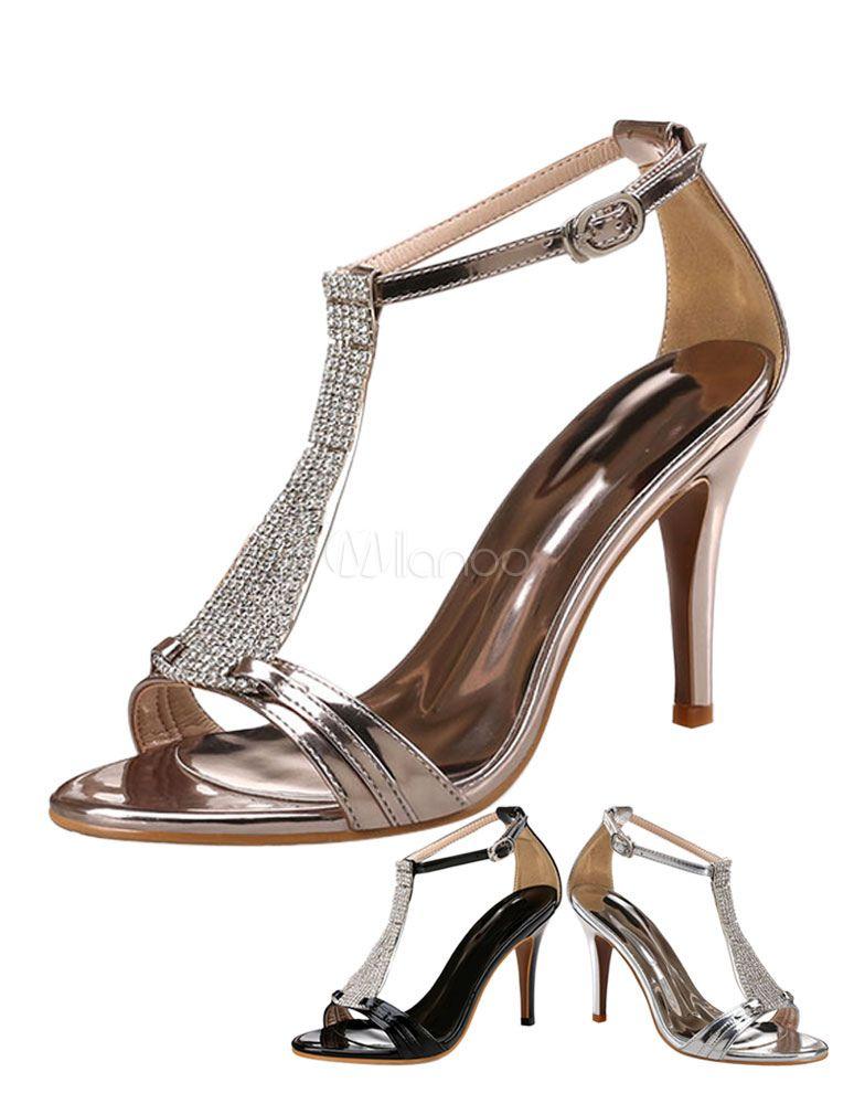 Women S Dress Sandals High Heels Metallic Rhinestones T Type 1920s Vintage Sandal Shoes