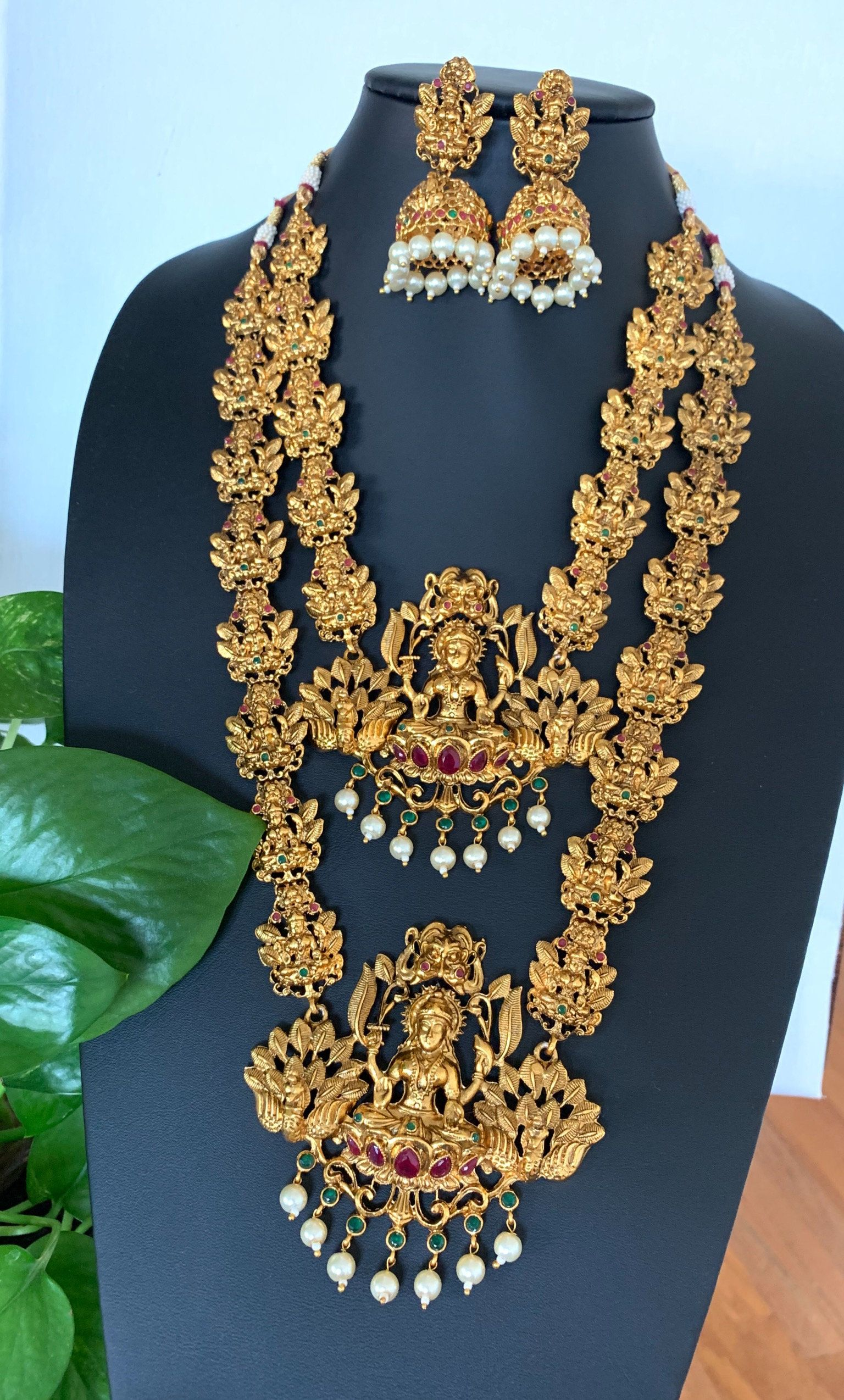 New Goddess Laxmi Haar Indian Traditional Weeding Gold Plated Temple Jewelry Set