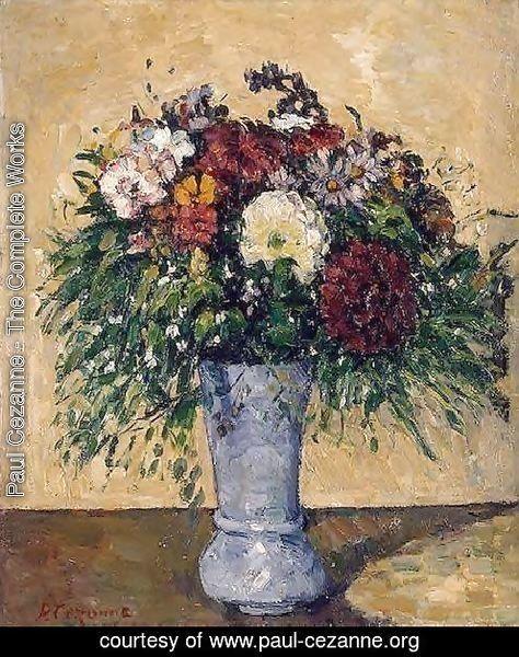 Flowers In A Blue Vase Paul Cezanne Large Resolution Image Ecard