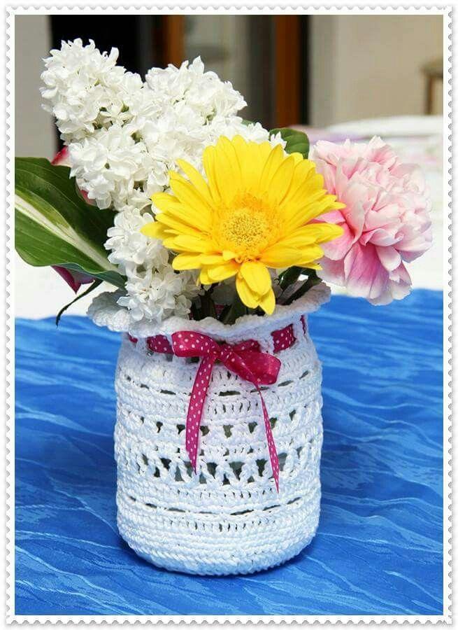 Vase umhäkeln | häkeln | Pinterest | Vasen, Dose und Windlicht