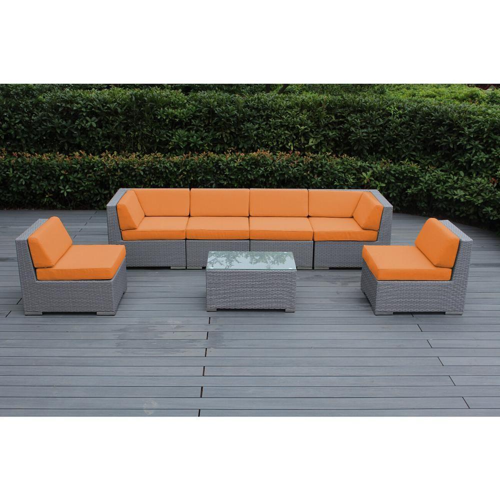 Ohana Depot Ohana Gray 7 Piece Wicker Patio Seating Set With