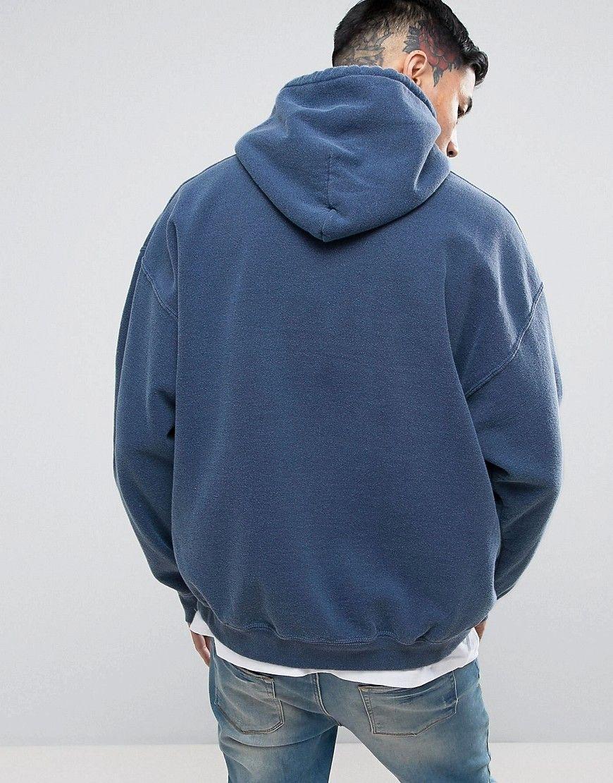 Reclaimed Vintage Inspired Oversized Hoodie In Navy Overdye Navy Hoodies Reclaimed Vintage Vintage Inspired