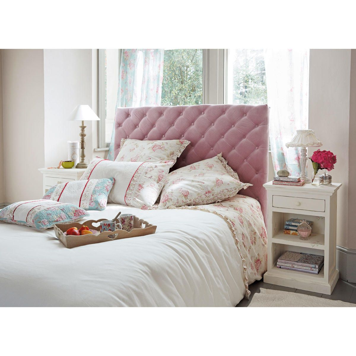 Cabecero de cama de 140 de terciopelo acolchado rosa Chesterfield ...