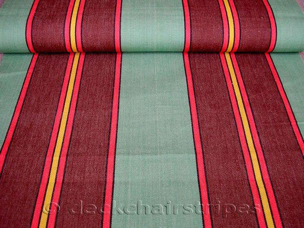 Green Deckchair Canvas Vintage Archive Striped Fabrics