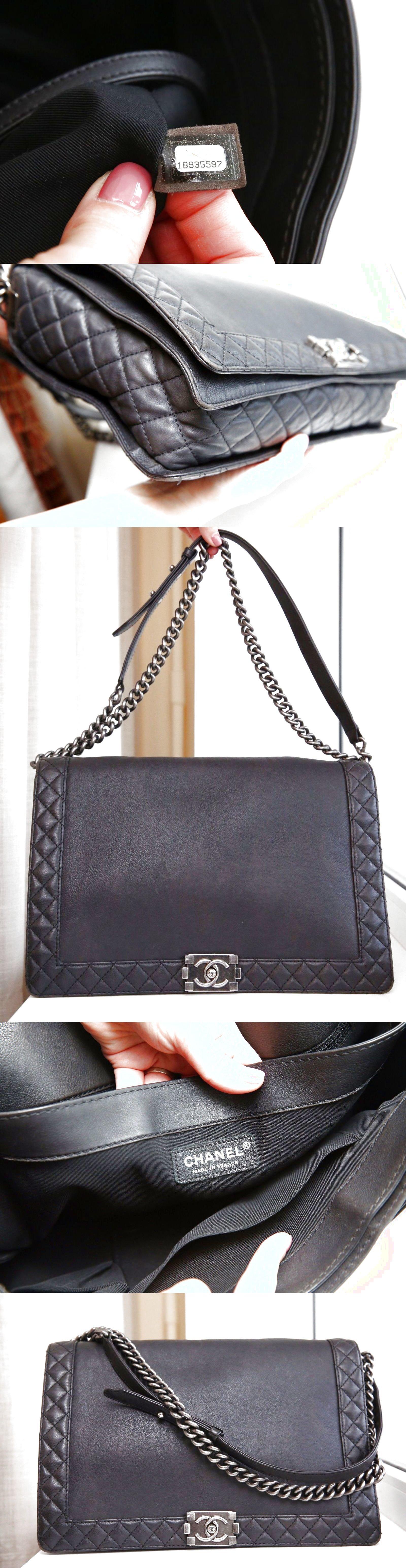 f42e2c60cf5a VERIFIED Authentic Chanel Black Calfskin Large Maxi Boy Reverso Flap Bag  $2499.0