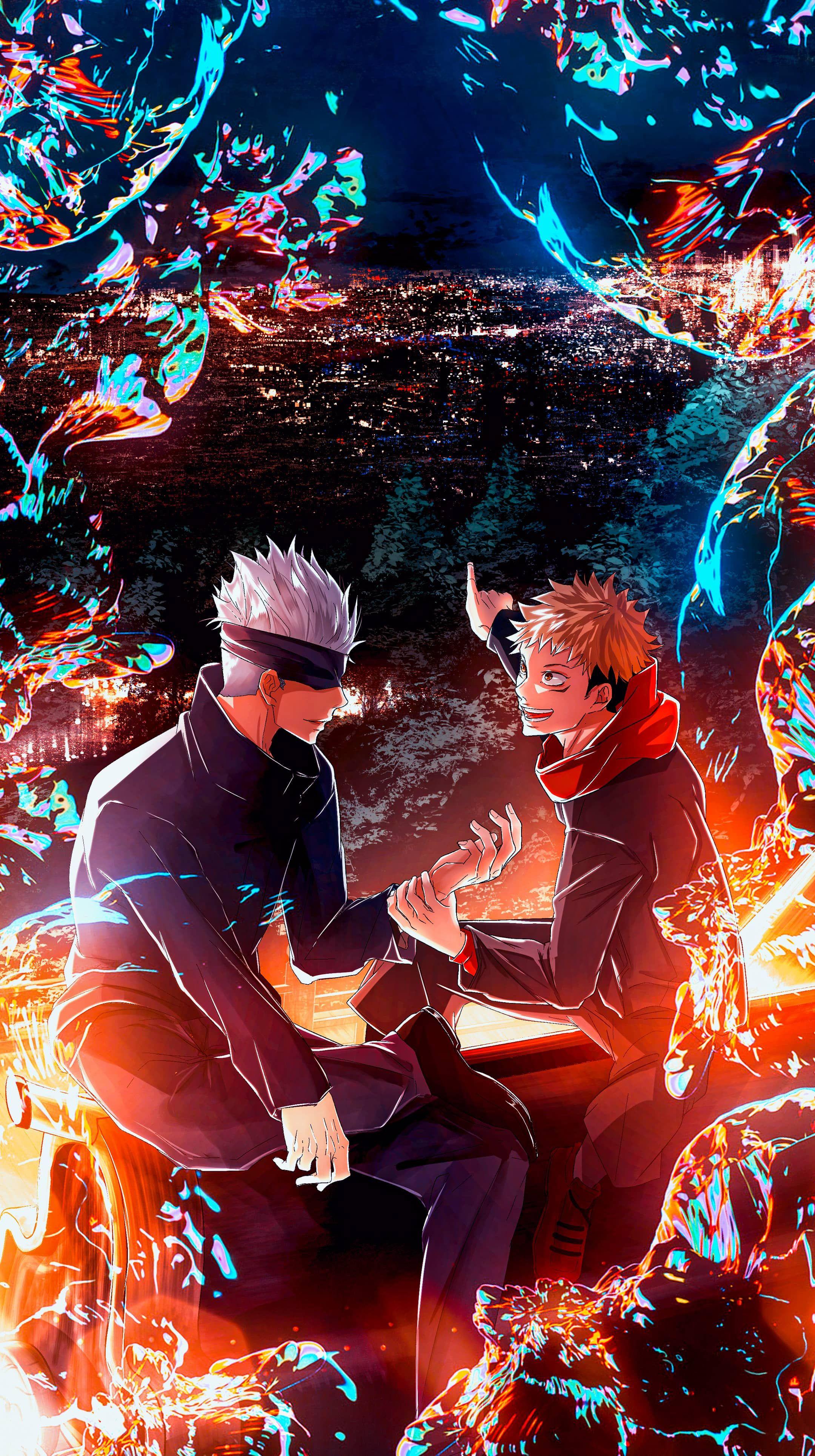 Jujutsu Kaisen Yuji And Satoru 4k Vertical Wallpaper In 2021 Jujutsu Anime Wallpaper Cool Anime Wallpapers