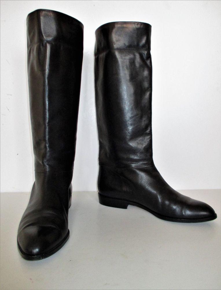 black leather low heel knee high