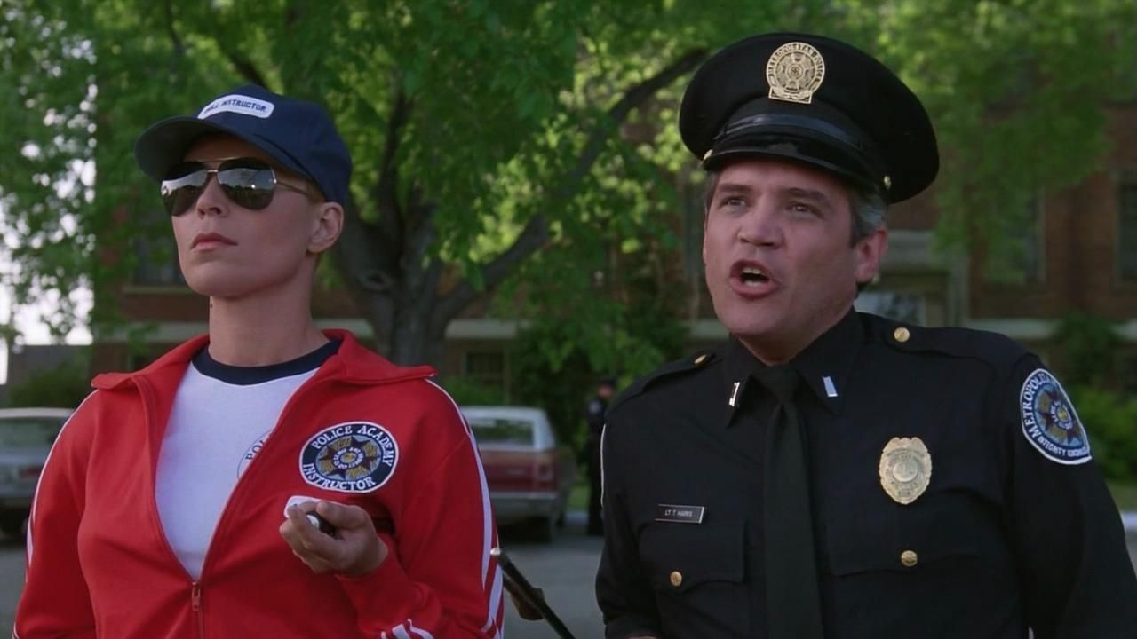 G W Bailey And Leslie Easterbrook In Police Academy 1984 Police Academy Leslie Easterbrook Steve Guttenberg