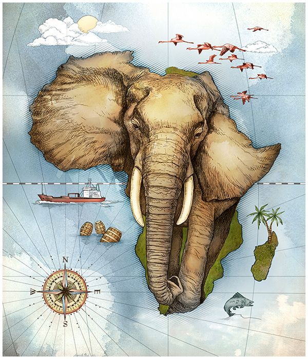 PPC Calendar on Behance   nice   Pinterest   Africa Map of Africa by Studio Muti  South Africa  working together with Jupiter  Drawing Room in Johannesburg  to create an illustrated calendar for PPC
