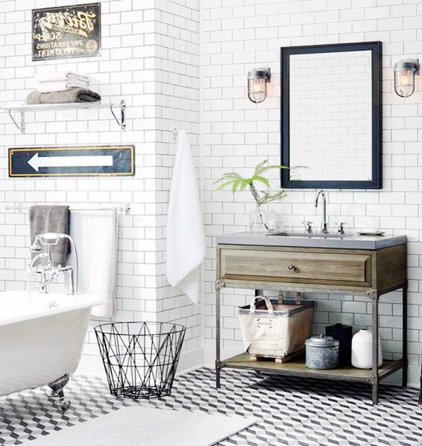 Modern vintage bathroom bathrooms pinterest modern for Vintage bathroom photos
