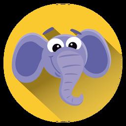 El elefante de dibujos animados icono del círculo