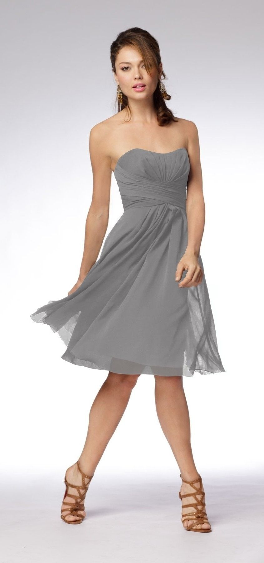 $57.99 Grey Lovely Chiffon Strapless Graduation Dress 8985 ...