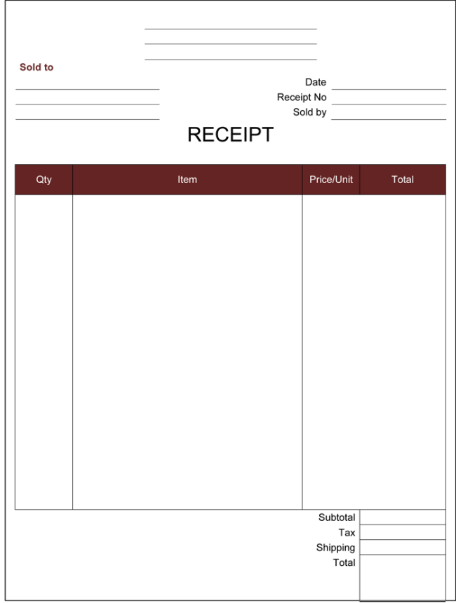 Printable Downloadable Receipt Template