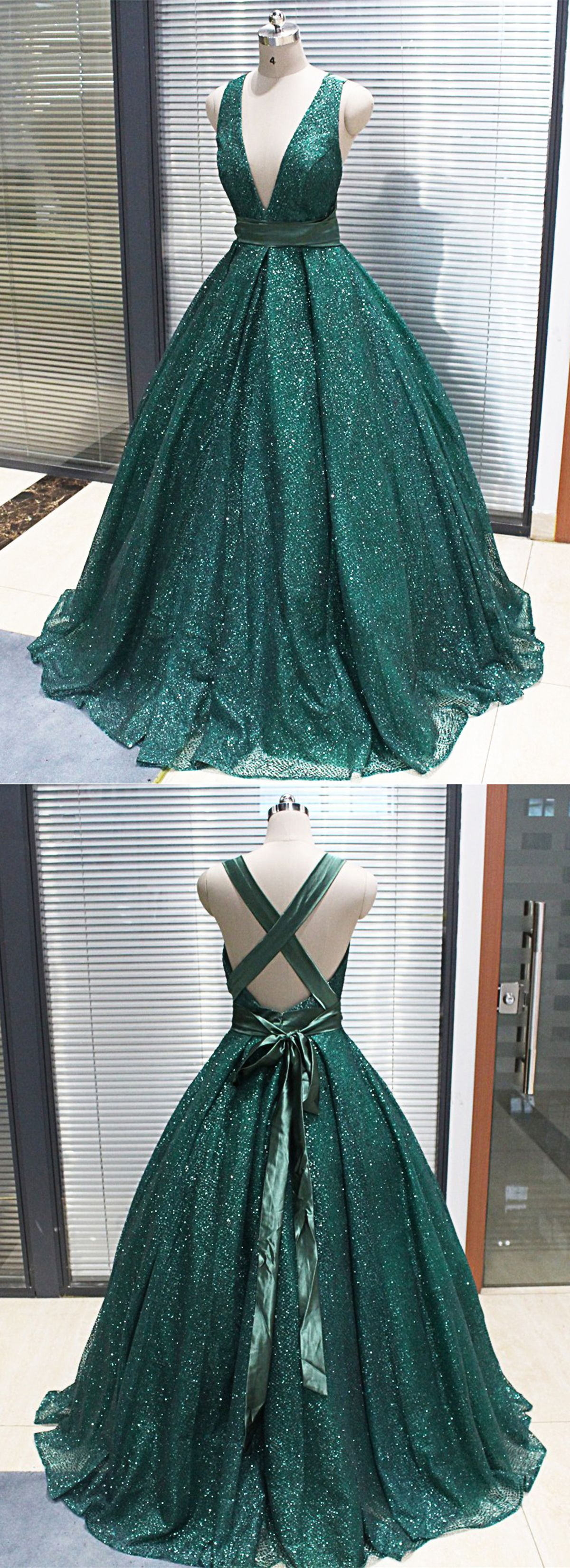 green sparkly dress long