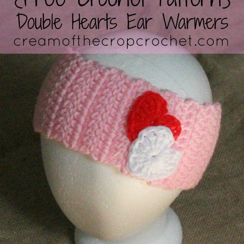 Corazones dobles calentadores del oído del patrón | crochet ...