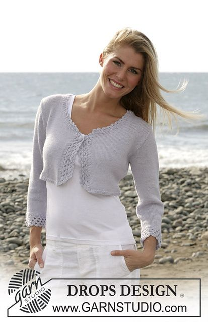 Photo of 101-11 Short cardigan with crochet borders pattern by DROPS design
