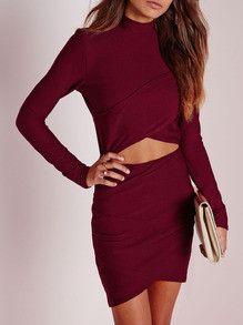 Burgundy Long Sleeve Cut Out Bodycon Dress