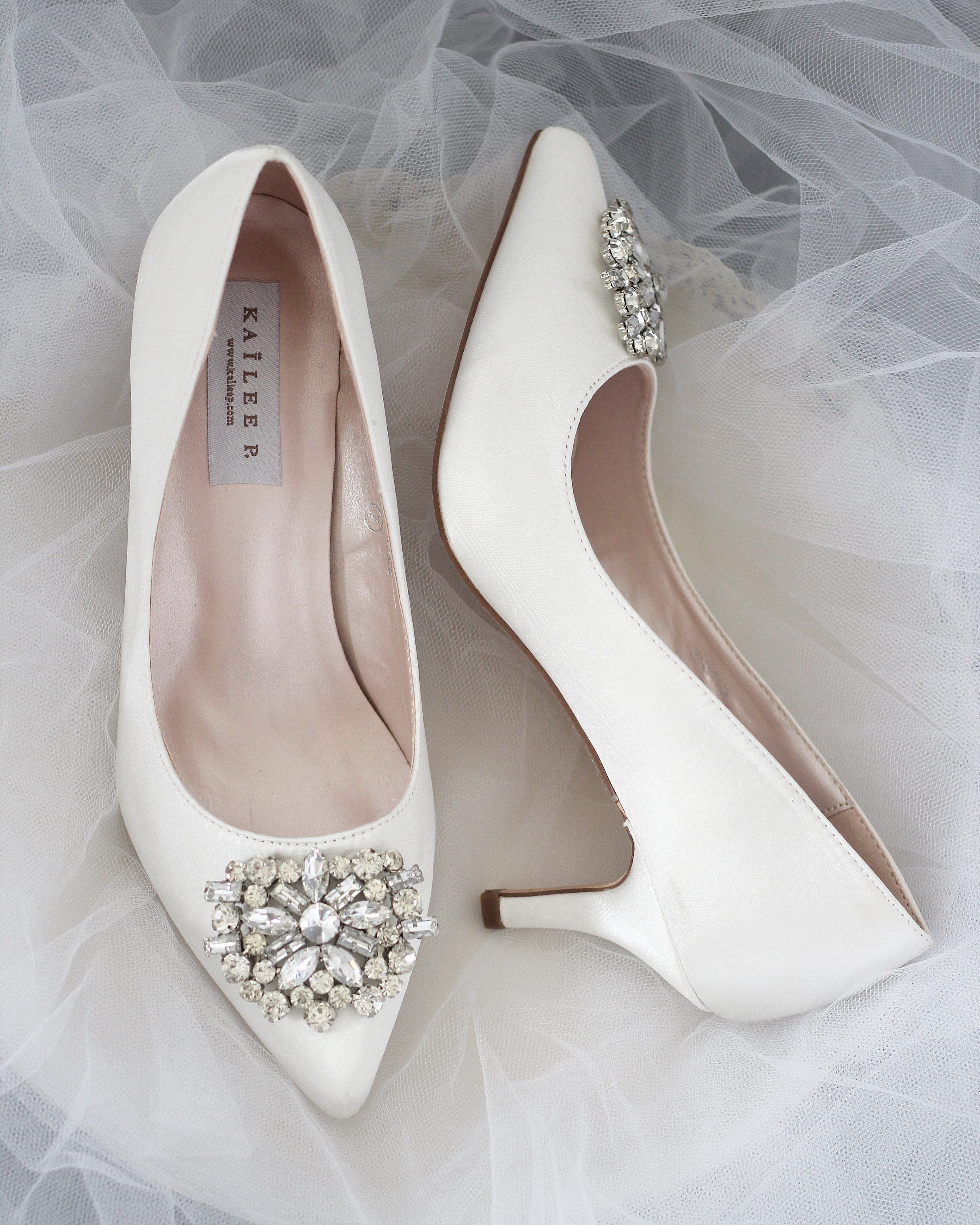 Off White Satin Pointy Toe Kitten Heel With Oversized Brooch In 2020 Bridal Shoes Low Heel Bridesmaid Shoes Bride Shoes