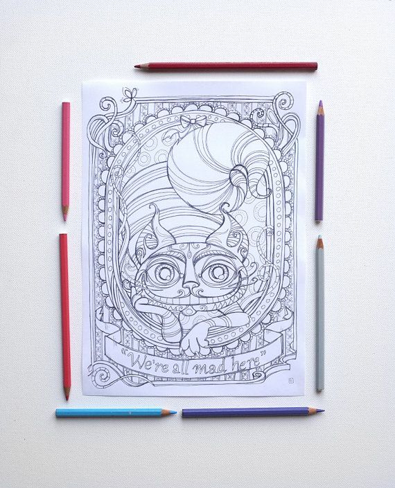 coloring page jpg the cheshire cat alice in wonderland lewis carroll instant download art printable illustrations