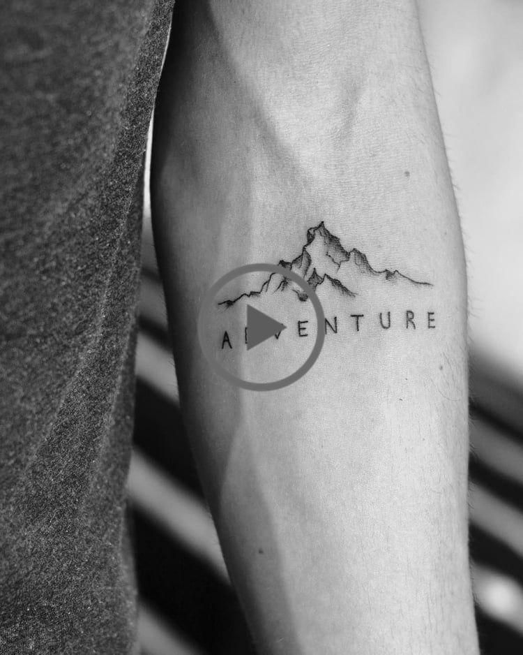 """Photo of Mountains tattoo with Word """"Adventure""""  #adventure #mountains #tattoo #traveltattoo"""