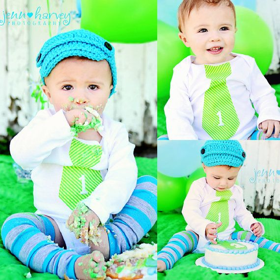 "Baby Boy Cake Smash ""1"" Personalized Tie Bodysuit & Leg"
