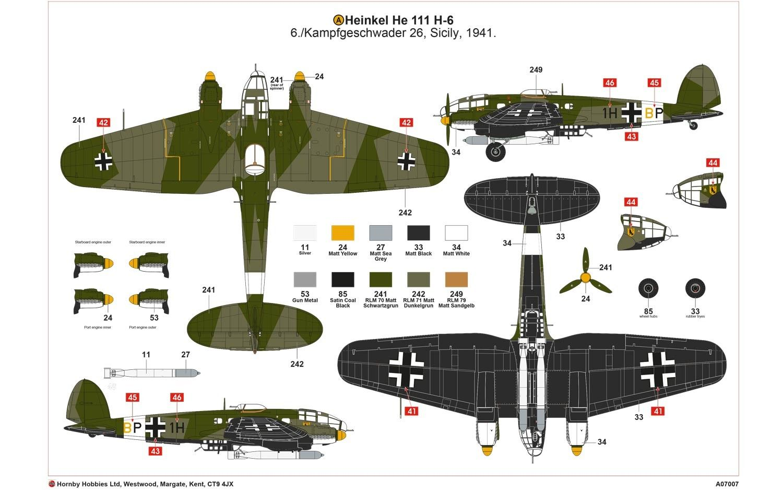 AIRFIX HEINKEL HEIII H-6 1:72 SCALE WW2 GERMAN BOMBER AIRCRAFT MODEL KIT
