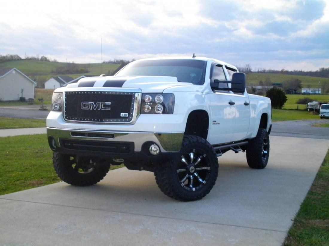 Lifted Gmc Sierra >> White Lifted Gmc Sierra Truck Trucks Chevy Trucks Sierra