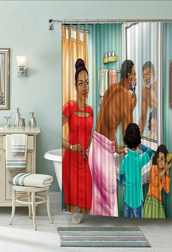 Pride In Family Afrocentric Shower Curtain With 12 Decorative Stainless Steel Rings