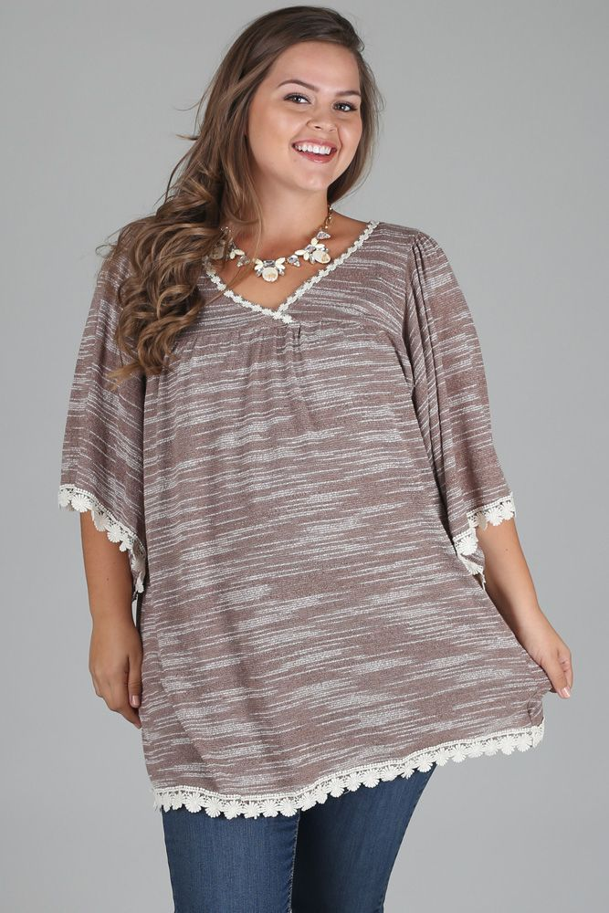 206811ef353ff Mocha Knit Crochet Accent Plus Size Maternity Nursing Top