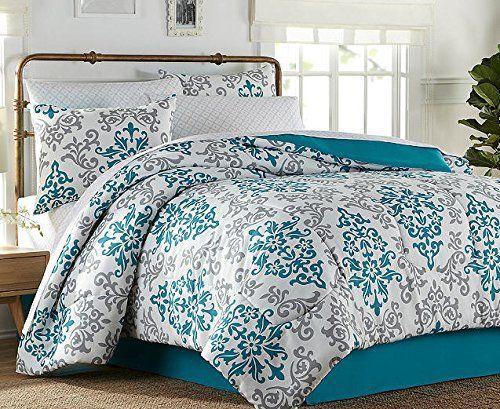 Turquoise & Gray Damask Girls Twin Comforter Set (6 Piece