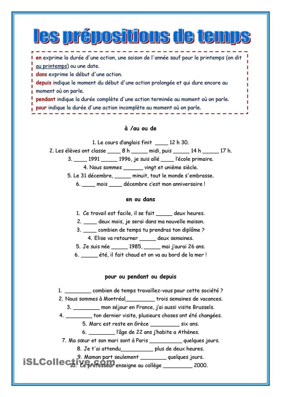 les prepositions de temps. théorie et exercice | FRANCÉS ...
