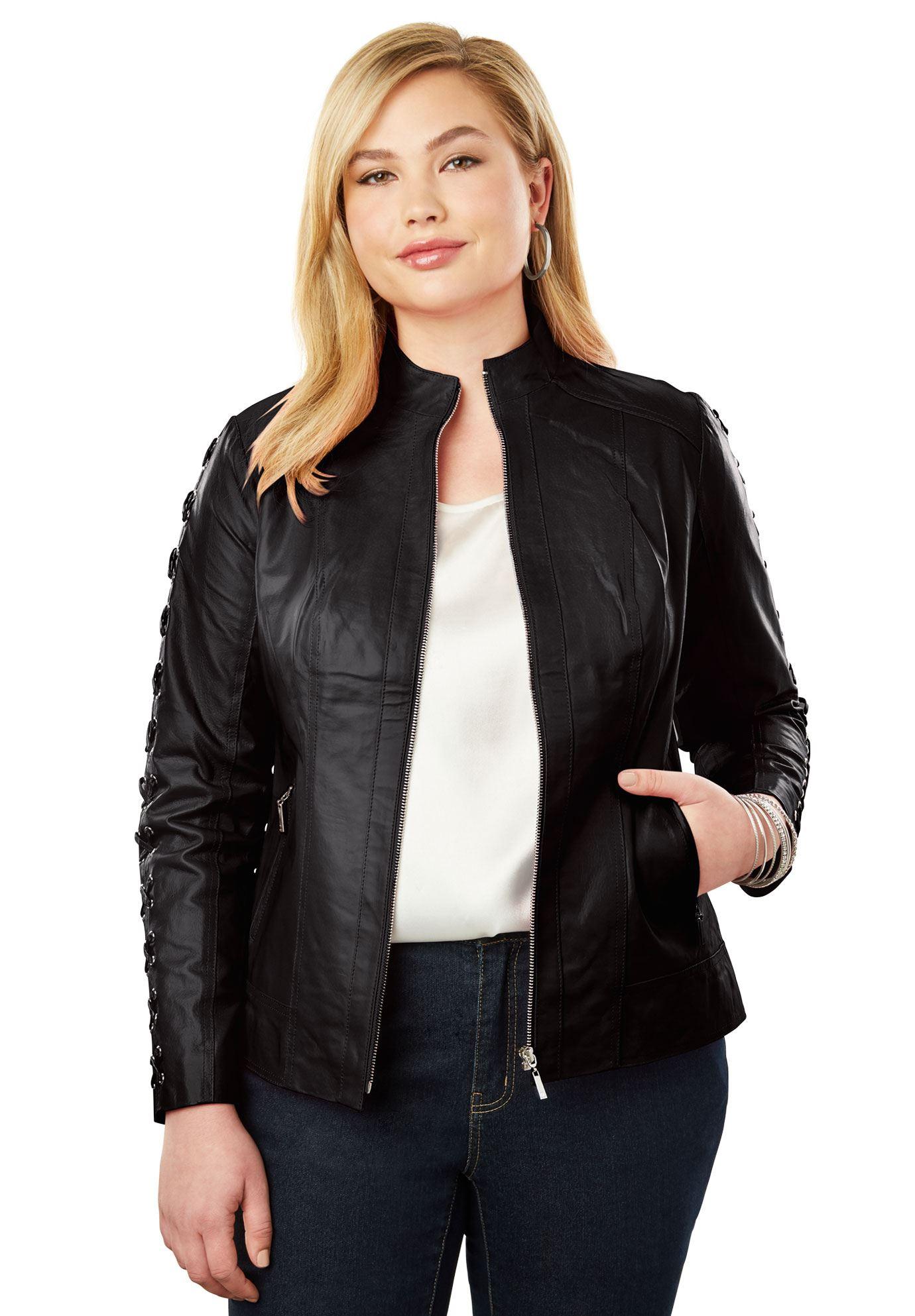 Lace Up Leather Jacket Women's Plus Size Clothing Plus