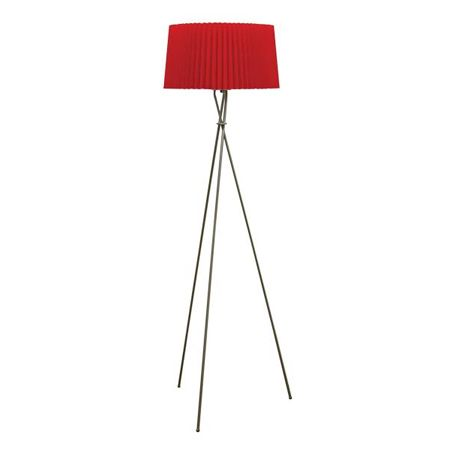 Giani' floor lamp with a red pleated shade on a silver nickel ...