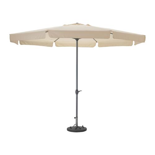ljuster umbrella with base beige l k gray beach. Black Bedroom Furniture Sets. Home Design Ideas