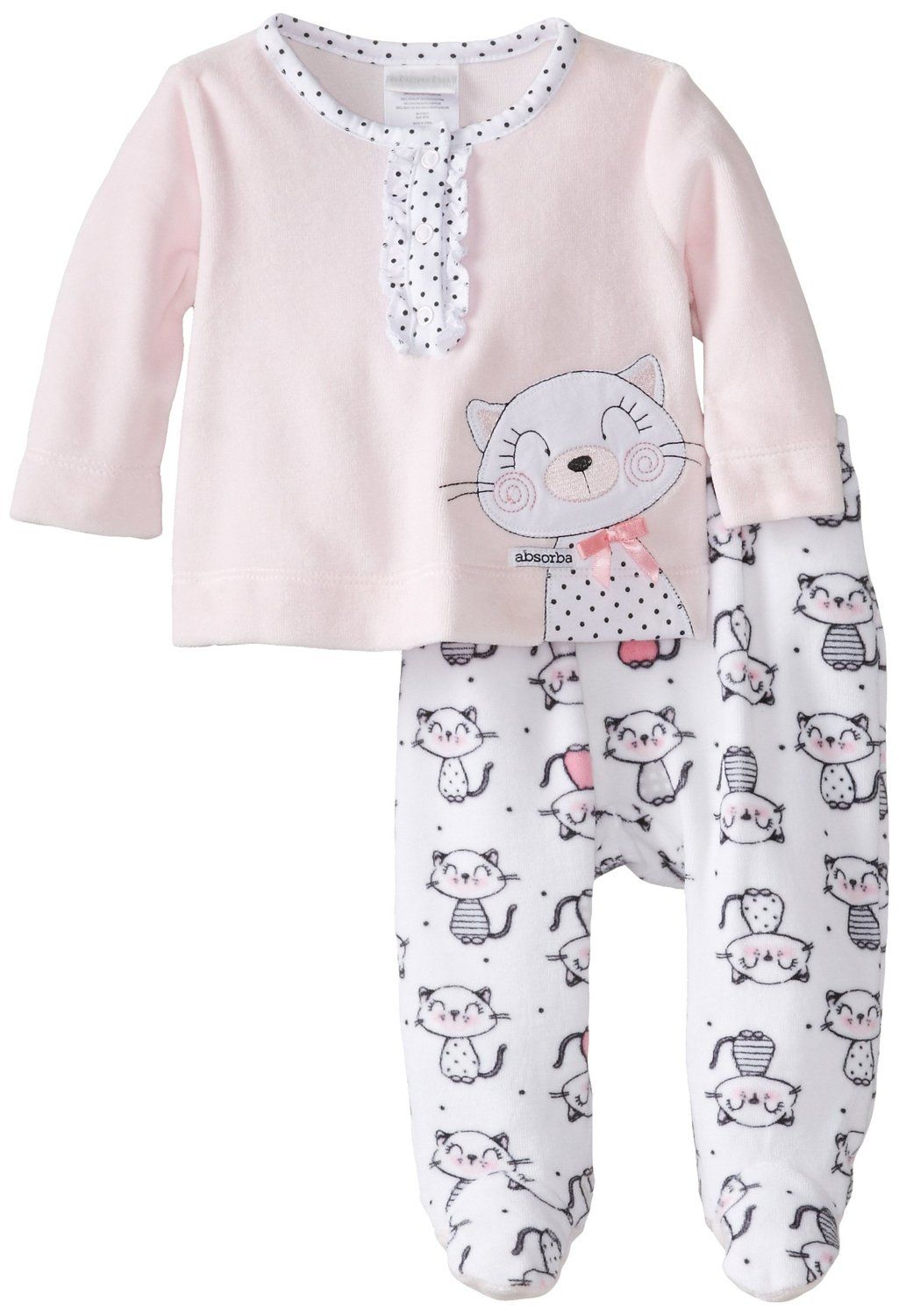 c9e03ba8ddc7 Amazon.com  ABSORBA Baby-Girls Newborn G Kitty Velour Footed Pant ...