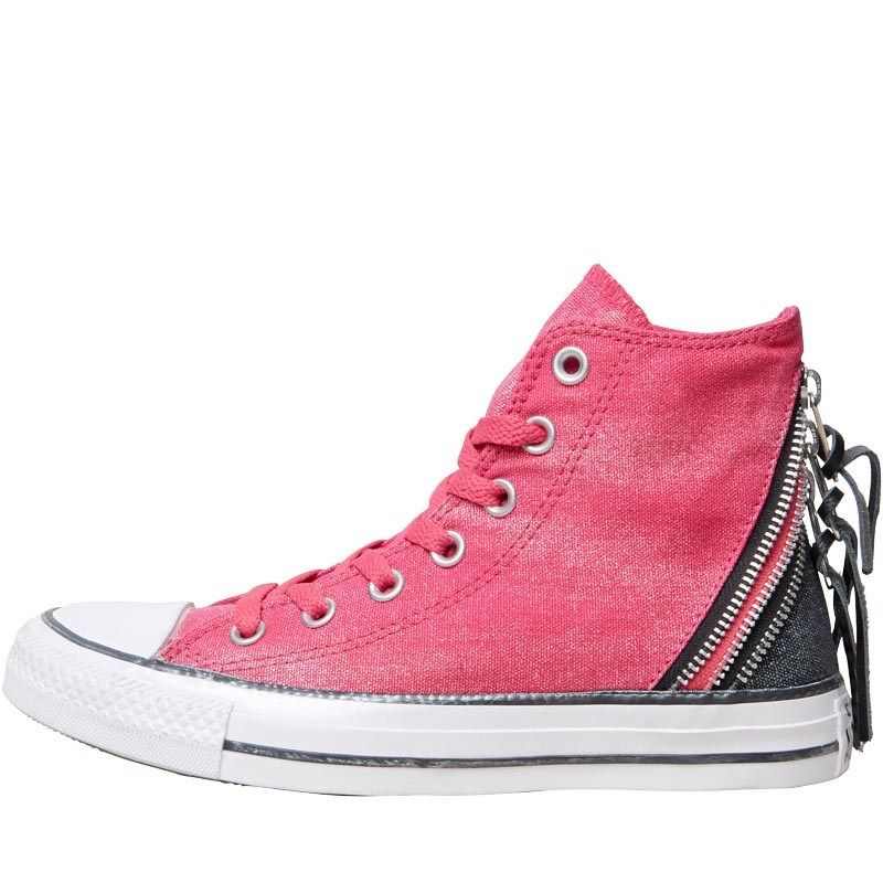 f552bd7f9661 Converse Womens CT All Star Hi Triple Zip Trainers Cosmos Pink Black White