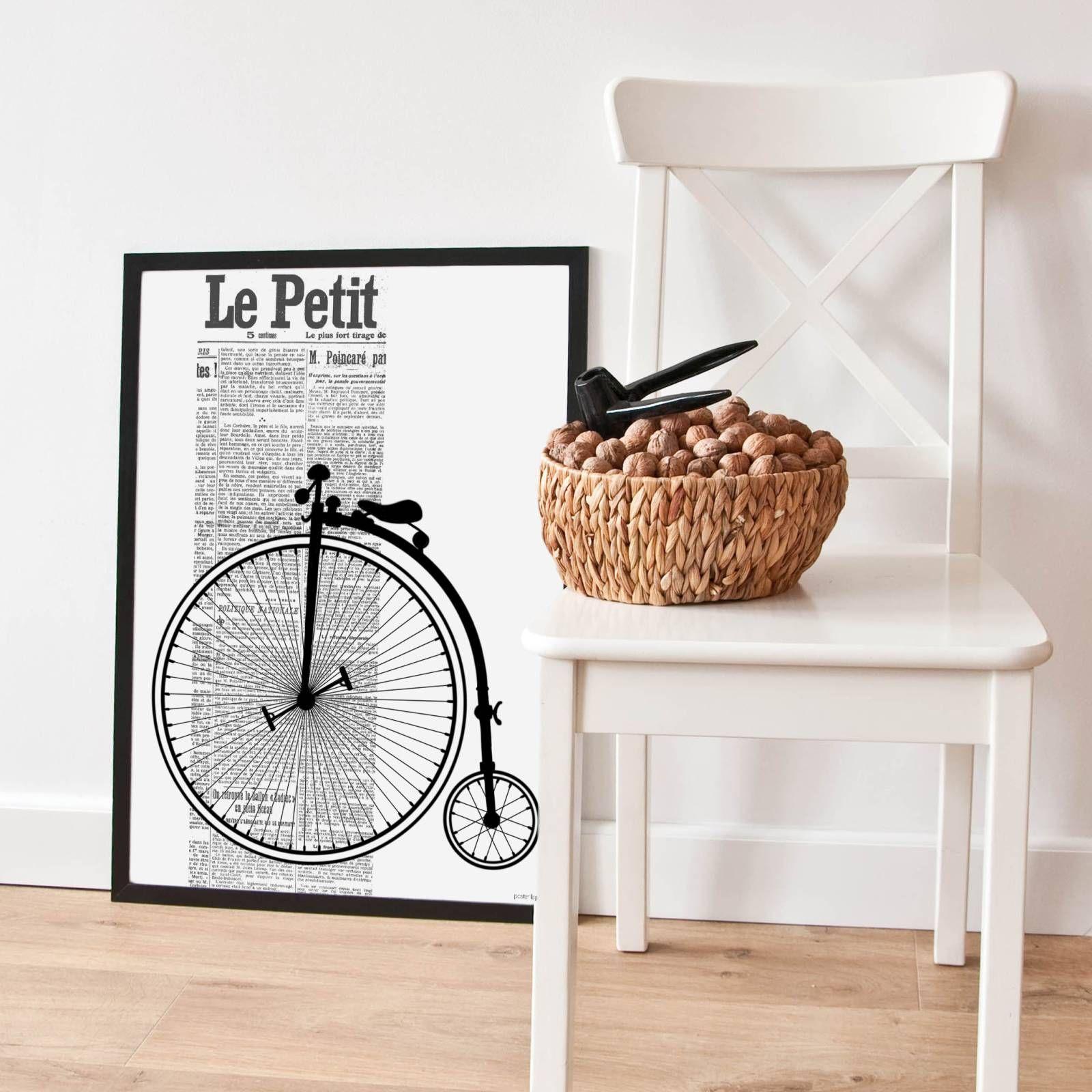 Plakat z grafiką Bicykl w czarnej oprawie