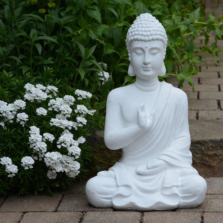 Buddha Figur Statue Weiss 54cm Dekoration Wohnung In 2020 Buddha Figur Dekoration Wohnung Buddha Dekoration