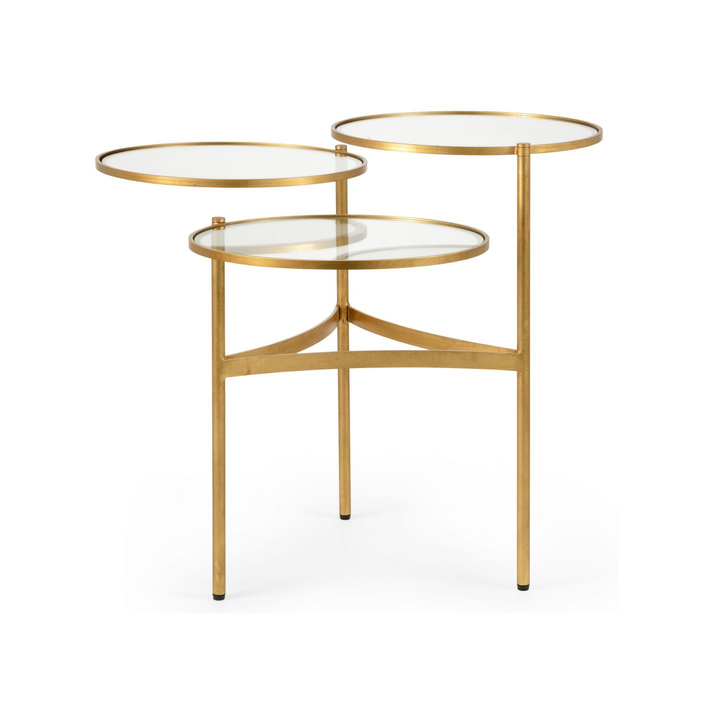 Three Tiered Coffee Table Made Of Glass And Steel With A Sophisticated Gold Finish Each Tier Is Can Be Adju 3 Tier Coffee Table Coffee Table Gold Coffee Table