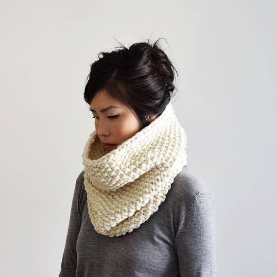 Chimenea de grueso blanco del Knit bufanda capucha Teal | tejidos ...
