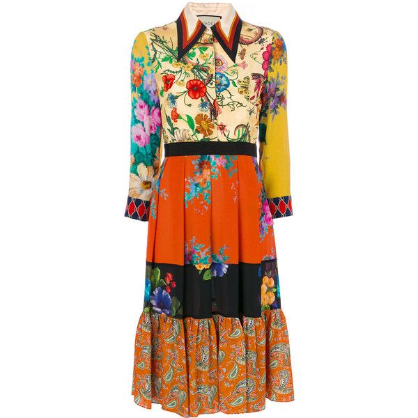 Gucci Patchwork Print Dress 3 400 Liked On Polyvore Featuring Dresses Multicolour Gucci 3 4 Length Sleeve Dress Th Fashion Gucci Dress