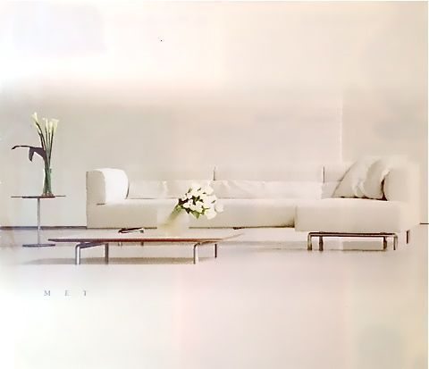 Cassina White Leather Couch