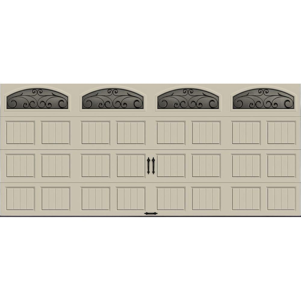 Clopay Gallery Collection 16 Ft X 7 Ft 6 5 R Value Insulated Desert Tan Garage Door With Wrought Iron Window Garage Doors White Garage Doors R Value