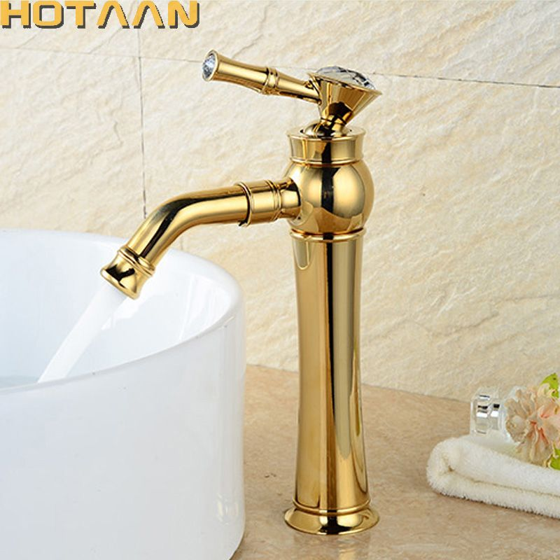 Free Shipping Modern Gold Faucet Gold Bathroom Faucets Gold Finish Basin Faucets Gold Tall High Bathroom Sink Faucet Yt 509 Sink Faucets Bathroom Sink Diy Sink