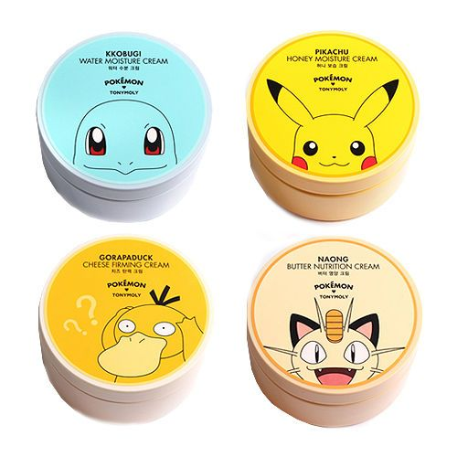 Skin care steps how to apply TONYMOLY Pokemon Moisturizing Cream Pokemon Edition 300ml   Feature Pikachu Honey Moisture Cream Kkobugi Water Moisture Cream Gorapaduck Cheese Firming Cream Naong Butter Nutrition Cream   Type option     Volume 300ml   Weight 480g  How to use Apply the product on the entire face as the last step of skin-care routine.