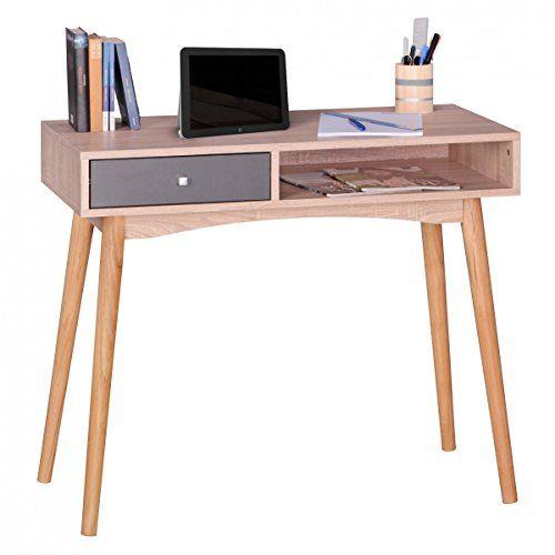 WOHNLING Schreibtisch Design Brotisch Mit Schublade SonomaGrau Tisch  Computertisch 90 Cm Modern Computerschreibtisch Mit Fcher Fr Ablage Fr Jugendliche   ...