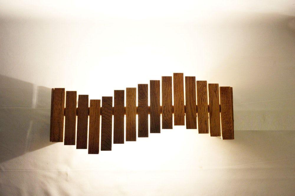 Applique murale en bois de récup design vague wave lamprecup