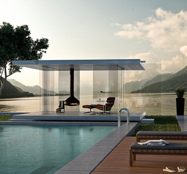 Cabana Pool House Designs Plan: Lined Slider Entryways