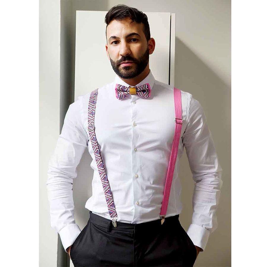 Men Women Pink African Print Suspenders And Bow Tie Set Fashun In Clas Baju Pria Crocodile Ori Polo Shirt Slim Fit Katun Dark Navy S Bows