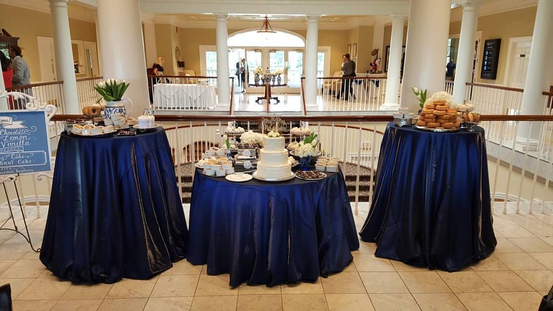 Royal blue and silver dessert buffet at Lake Nona Golf Club by Two Sweets Bake Shop www.twosweetsbakeshop.com